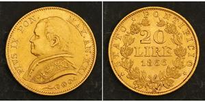 20 Лира Папская область (752-1870) Золото Пий IX (1792- 1878)