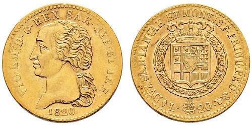 20 Лира Сардинское королевство (1324 - 1861) Золото Виктор Эммануил I