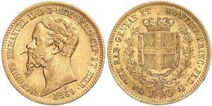 20 Лира Kingdom of Italy (1861-1946) Золото Victor Emmanuel II of Italy (1820 - 1878)