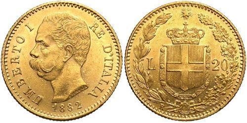 20 Лира Kingdom of Italy (1861-1946) Золото Умберто I (1844-1900)