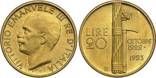 20 Лира Kingdom of Italy (1861-1946) Золото Виктор Эммануил III (1869 - 1947)