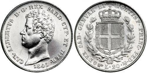 20 Лира Сардинское королевство (1324 - 1861) Платина Карл Альберт (1798 - 1849)