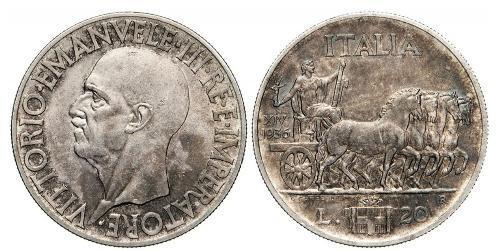 20 Лира Kingdom of Italy (1861-1946) Серебро Виктор Эммануил III (1869 - 1947)