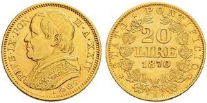 20 Ліра Папська держава (752-1870) Золото Пій IX (1792- 1878)