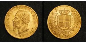 20 Ліра Kingdom of Italy (1861-1946) Золото Victor Emmanuel II of Italy (1820 - 1878)