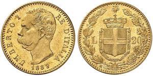 20 Ліра Kingdom of Italy (1861-1946) Золото Умберто I (1844-1900)