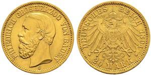 20 Марка Велике герцогство Баден (1806-1918) Золото Frederick I, Grand Duke of Baden (1826 - 1907)