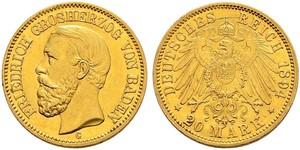 20 Марка Великое герцогство Баден (1806-1918) Золото Фридрих I (великий герцог Баденский) (1826 - 1907)