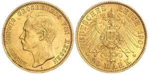 20 Марка Великое герцогство Гессен (1806 - 1918) Золото Эрнст Людвиг (великий герцог Гессенский) (1868 - 1937)