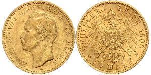 20 Марка Великое герцогство Гессен (1806 - 1918) Золото Ernest Louis, Grand Duke of Hesse (1868 - 1937)