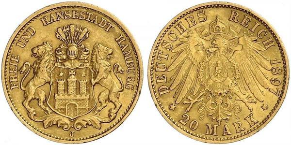20 Марка Гамбург Золото