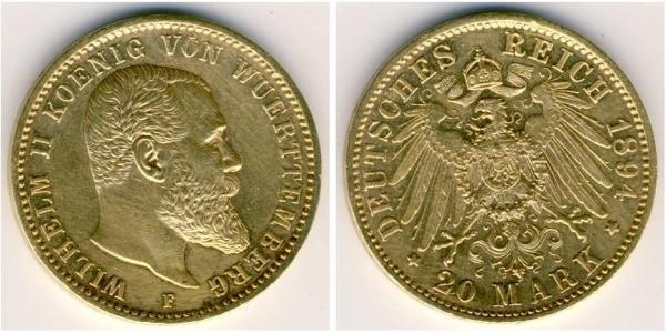 20 Марка Королевство Вюртемберг (1806-1918) Золото Wilhelm II, German Emperor (1859-1941)