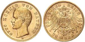 20 Марка Королівство Баварія (1806 - 1918) Золото Otto of Bavaria (1848 – 1916)