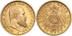 20 Марка Королівство Вюртемберг Золото Wilhelm II, German Emperor (1859-1941)