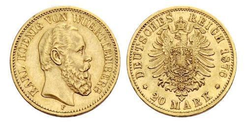 20 Марка Королівство Вюртемберг Золото Charles I of Württemberg