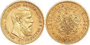 20 Марка Королівство Пруссія (1701-1918) Золото Фрідріх III (німецький імператор) (1831-1888)