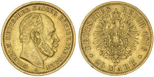 20 Марка Королівство Пруссія (1701-1918) Золото Wilhelm I, German Emperor (1797-1888)