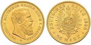 20 Марка Пруссия (королевство) (1701-1918) Золото Фридрих III (германский император) (1831-1888)