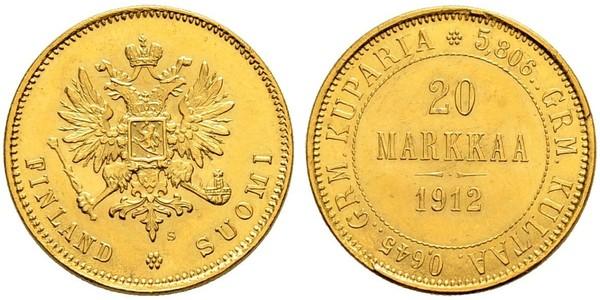 20 Марка Российская империя (1720-1917) / Великое княжество Финляндское (1809 - 1917) Золото Александр III (1845 -1894)