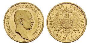 20 Марка Саксония (королевство) (1806 - 1918) Золото Фридрих Август III (король Саксонии) (1865-1932)