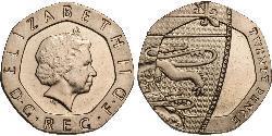20 Пені Велика Британія (1922-) Нікель/Мідь Єлизавета II (1926-)
