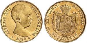 20 Песета Королевство Испания (1874 - 1931) Золото Alfonso XIII of Spain (1886 - 1941)