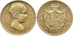 20 Песета Королівство Іспанія (1874 - 1931) Золото Alfonso XIII of Spain (1886 - 1941)