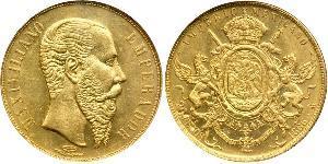 20 Песо Вторая Мексиканская империя (1864 - 1867) Золото Maximilian I of Mexico (1832 - 1867)