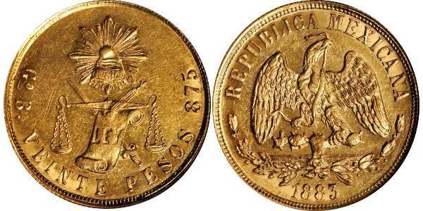 20 Песо Мексиканські Сполучені Штати (1867 - ) Золото