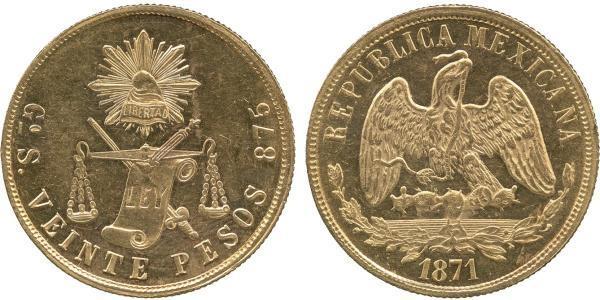 20 Песо Соединённые Штаты Мексики (1867 - ) Золото