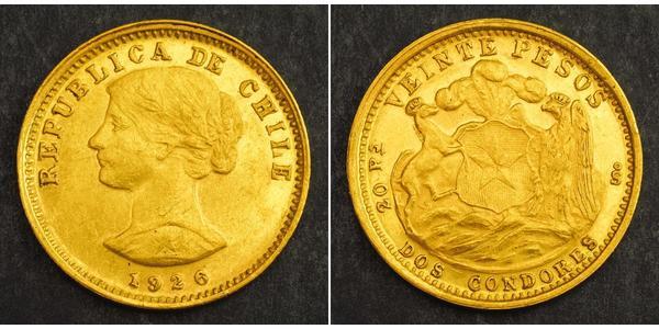20 Песо Чилі Золото