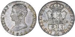 20 Реал Королівство Іспанія (1808 - 1813) Срібло Жозеф Бонапарт
