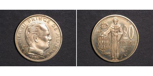 20 Сантим Монако  Ренье III (князь Монако)
