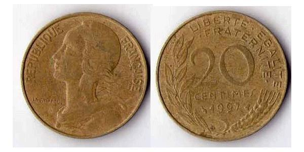 20 Сантім French Fifth Republic (1958 - ) Бронза/Алюміній