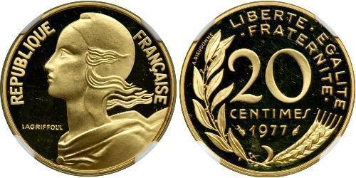 20 Сантім Франція / French Fifth Republic (1958 - ) Золото