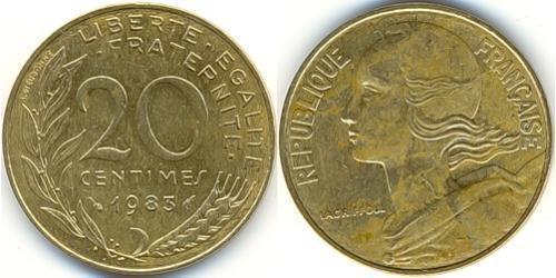 20 Сантім French Fifth Republic (1958 - ) Латунь