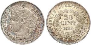 20 Сантім French Second Republic (1848-1852) Срібло