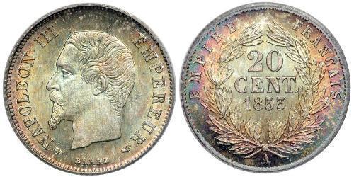20 Сантім Second French Empire (1852-1870) Срібло Наполеон ІІІ Бонапарт (1808-1873)