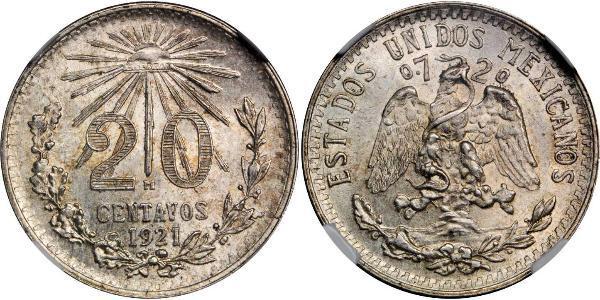 20 Сентаво Мексика Серебро