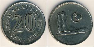20 Сен Малайзия (1957 - ) Никель/Медь