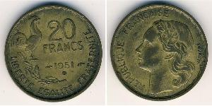 20 Франк French Fourth Republic  (1946-1958) Бронза/Алюміній