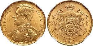 20 Франк Бельгия Золото