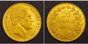 20 Франк Бельгія Золото Leopold I of Belgium (1790-1865)