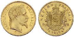 20 Франк Вторая французская империя (1852-1870) Золото Наполеон III Бонапарт (1808-1873)
