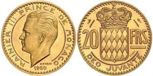20 Франк Монако Золото Ренье III (князь Монако)