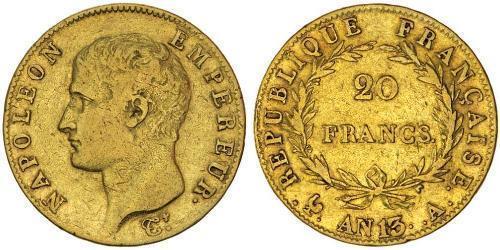 20 Франк Первая Французская империя (1804-1814) Золото Наполеон I(1769 - 1821)