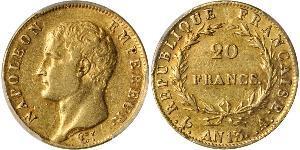 20 Франк Перша Французька імперія (1804-1814) Золото Наполеон I Бонапарт(1769 - 1821)