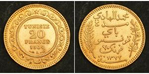 20 Франк Тунис Золото