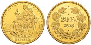 20 Франк Швейцария Золото