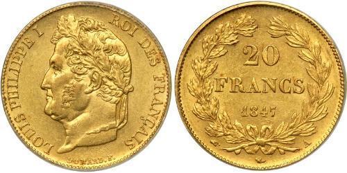 20 Франк July Monarchy (1830-1848) Золото Луі-Філіп I (1773 -1850)